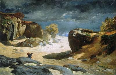 Il Sentiero DElle Sabbie a Fontainebleau 1869   Jules Joseph Augustin Laurens   Oil Painting
