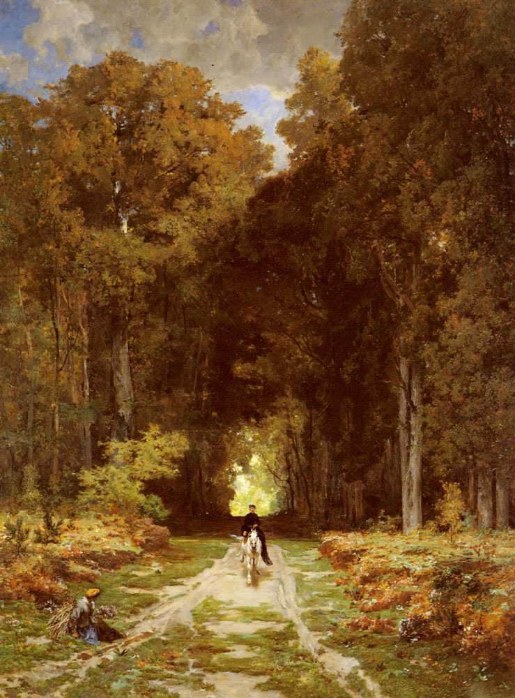 Equestrienne On A Woodland Lan | Jules Joseph Augustin Laurens | Oil Painting