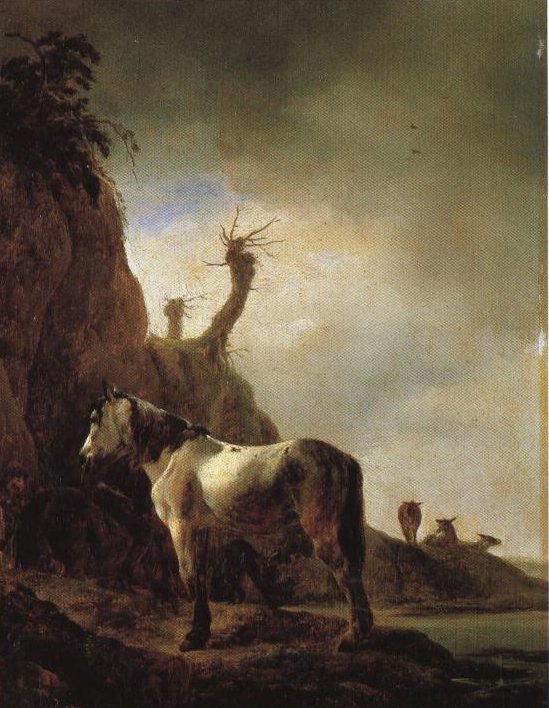 White Horse By A River Bank | Philips Wouwermans | Oil Painting