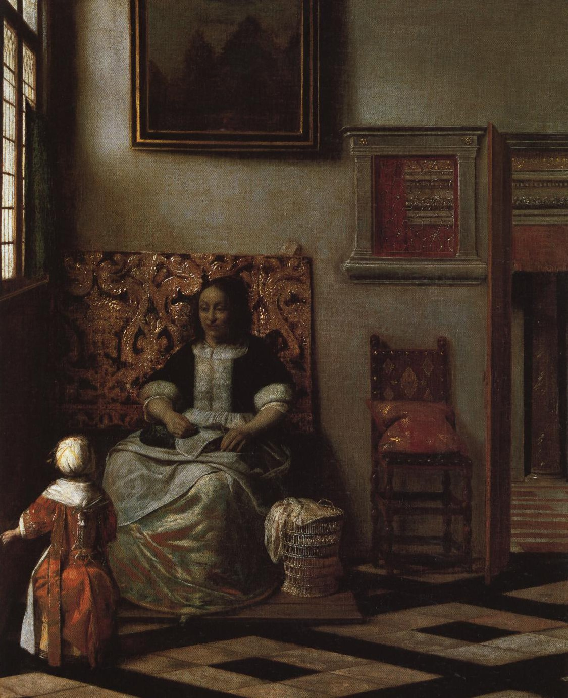 Woman With Needlework And A Child | Pieter Hendricksz De Hooch | Oil Painting