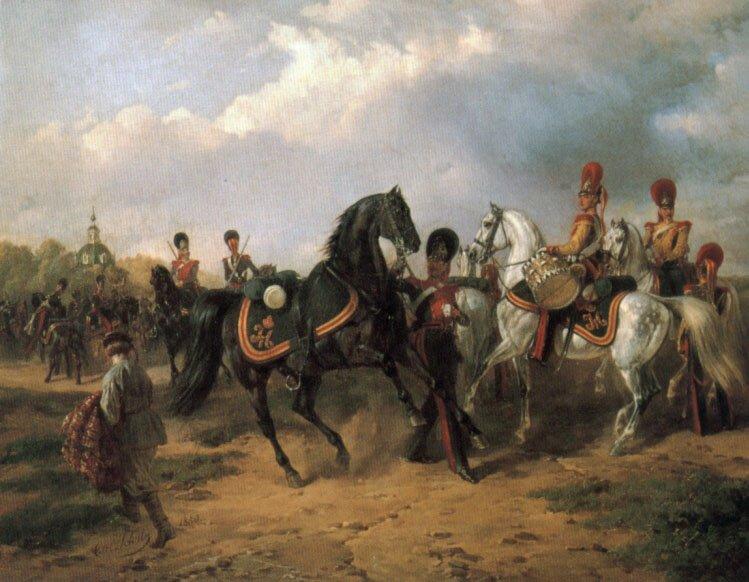 Begegnung Russischer Ulanen Und Dragoner 2 | Karl Friedrich Schulz | Oil Painting