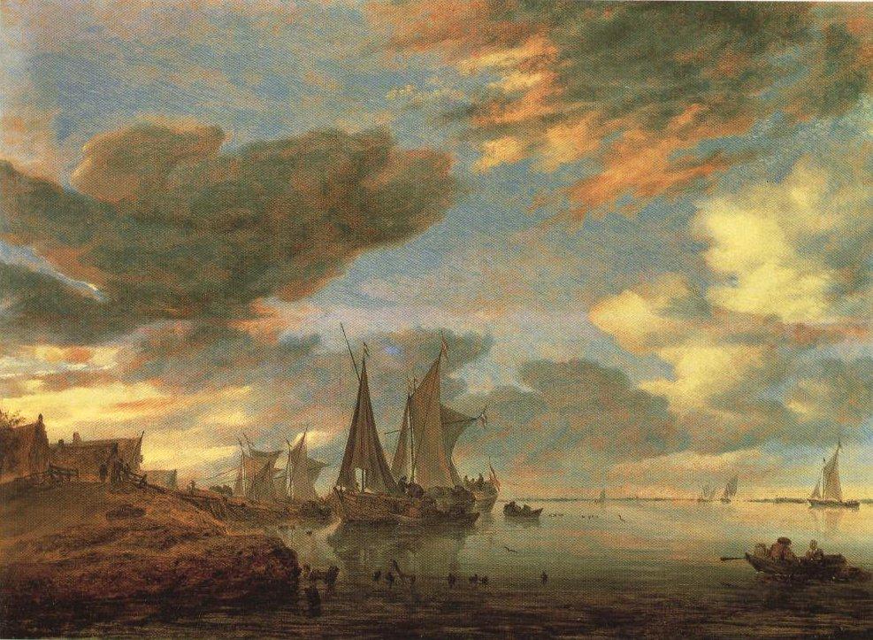 Sailing Vessels Moored Near A Village | Salomon Jacobsz Van Ruysdael | Oil Painting