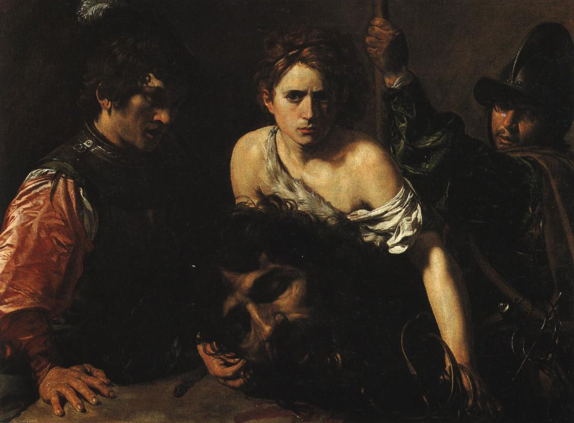 David With The Head Of Goliath And Two Soldiers | Valentin De Boulogne | Oil Painting