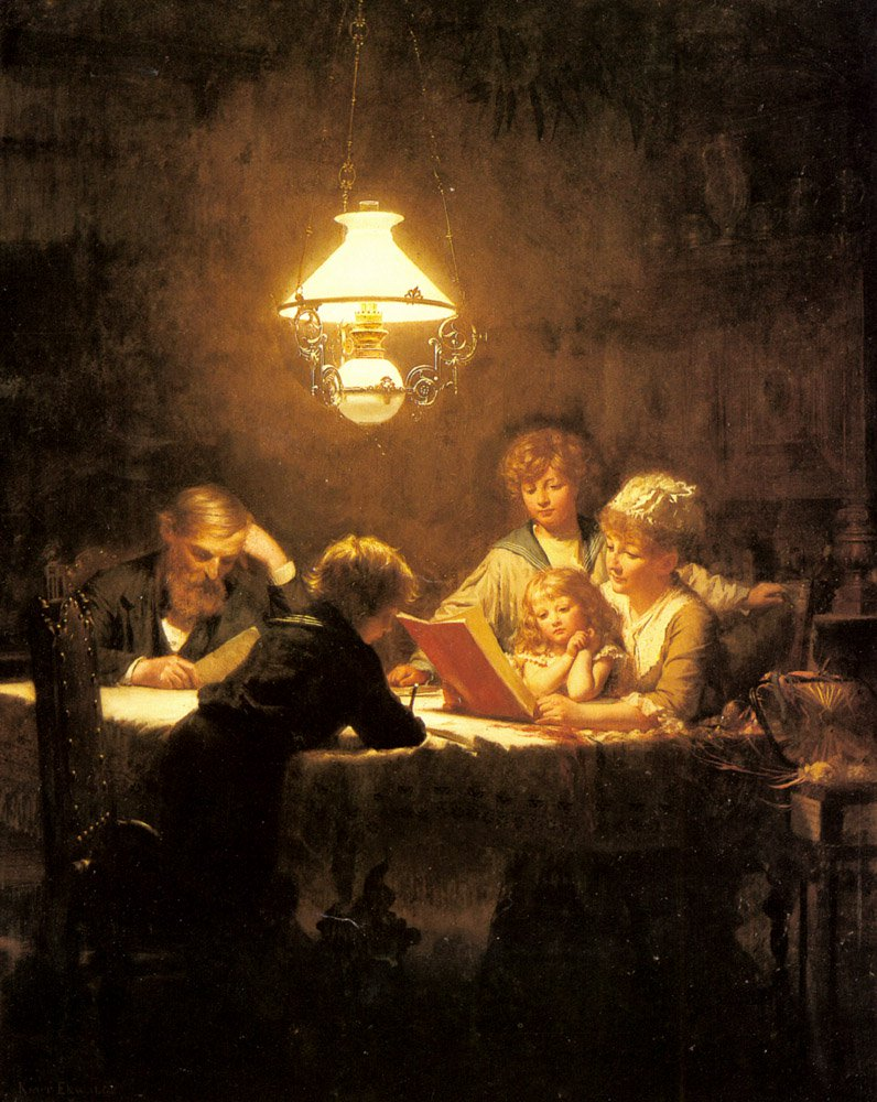 The Reading Lesson | Knut Ekvall | Oil Painting