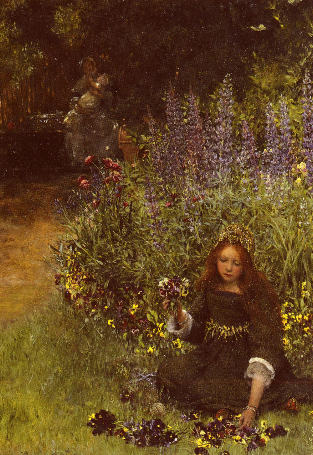 Gathering Pansies | Lady Laura Teresa Alma-Tadema | Oil Painting