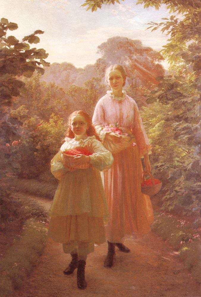 Sisters Gathering Raspberries and Roses Summer | Ole Henrik Olrik | Oil Painting