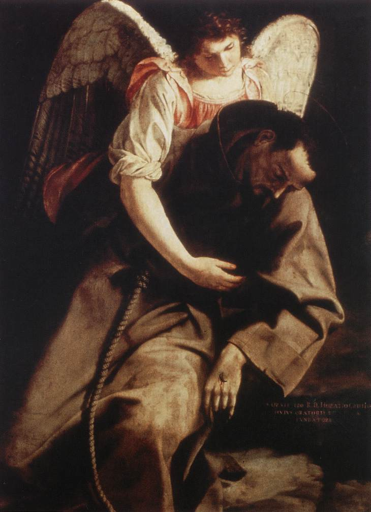 St Francis And The Angel 1612-13 | Orazio Gentiles | Oil Painting