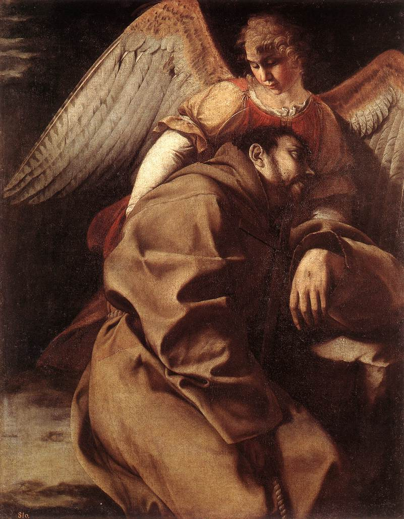 St Francis Supported By An Angel C 1603 | Orazio Gentiles | Oil Painting