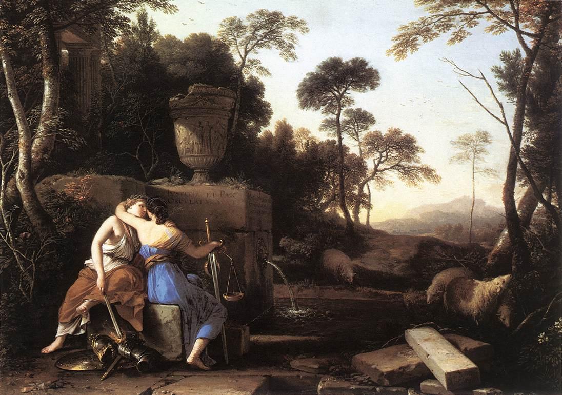 Landscape With Peace And Justice Embracing 1654 | Laurent De La Hire | Oil Painting