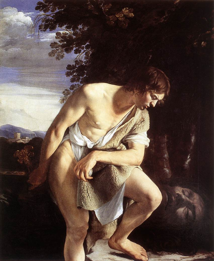 David Contemplating The Head Of Goliath C 1610 | Orazio Gentiles | Oil Painting