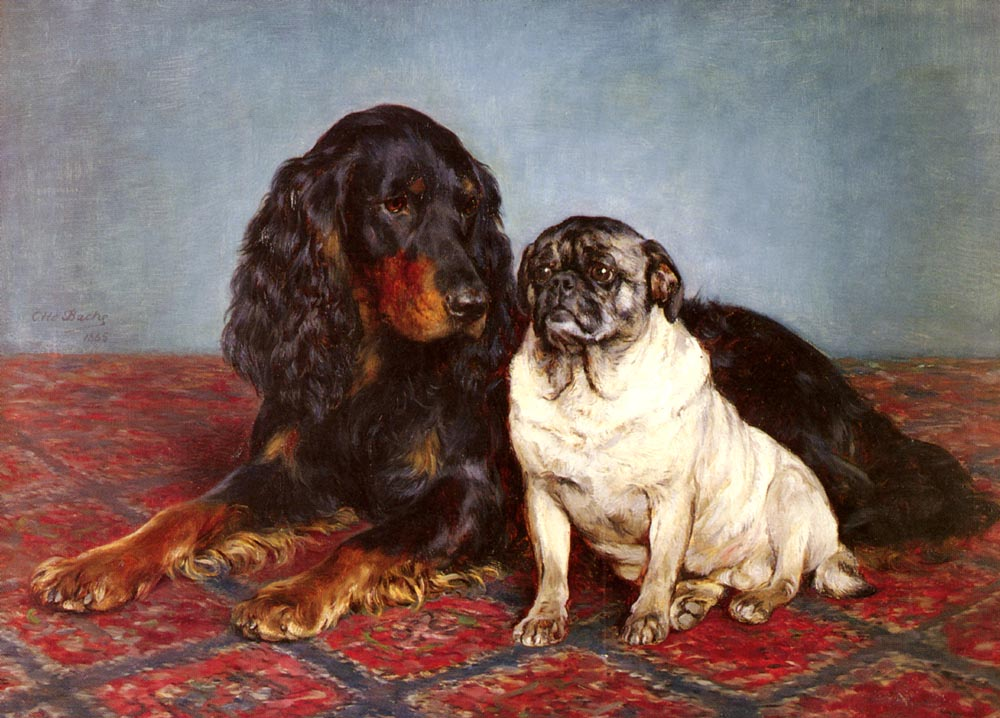 A Spaniel And A Pug | Otto Bache | Oil Painting