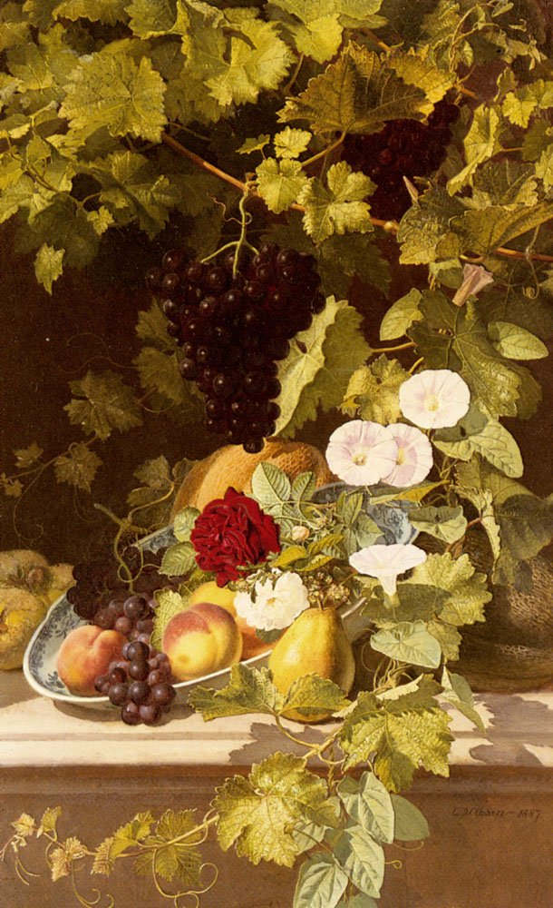 A Still Life With Fruit Flowers and a Vine   Otto Didrik Ottesen   Oil Painting