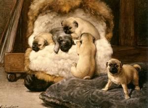 Nest Met Jonge Mastiffs   Otto Eerelman   Oil Painting