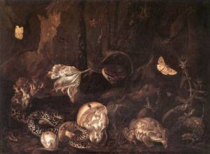 Still Life with Insects and Amphibians 1662 | Ottomarseus Van Schrieck | Oil Painting