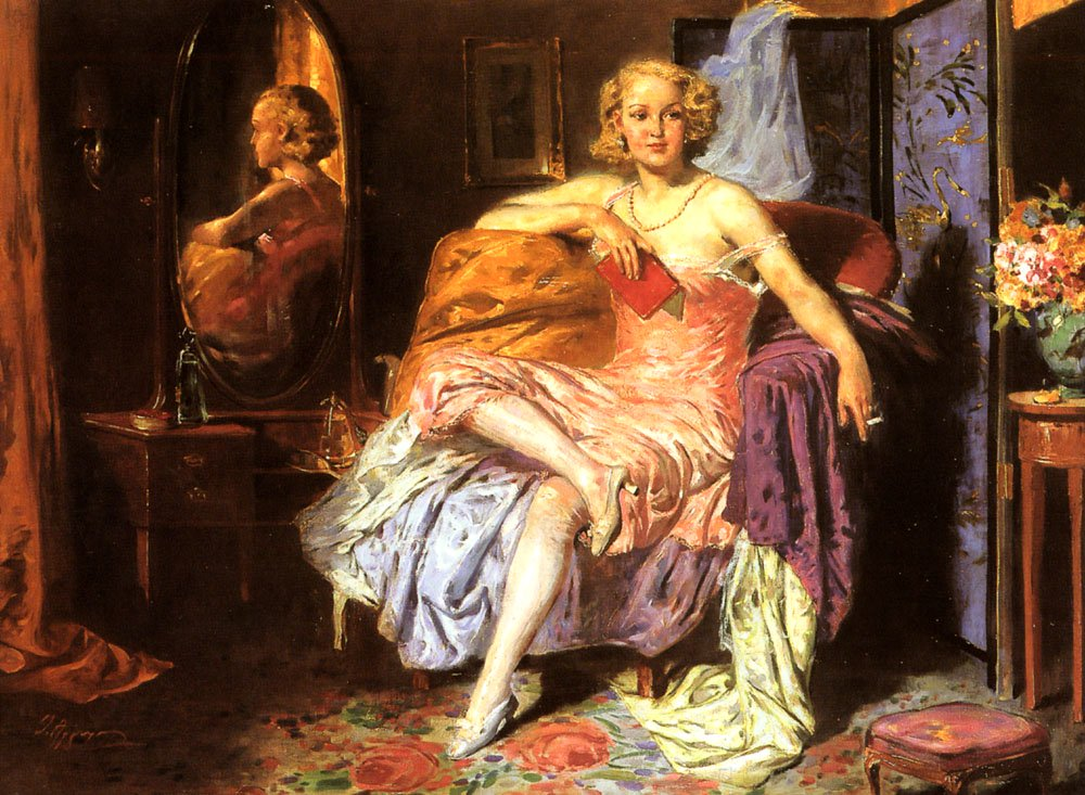 Girl In Boudoir | Oumbertos Argyros | Oil Painting