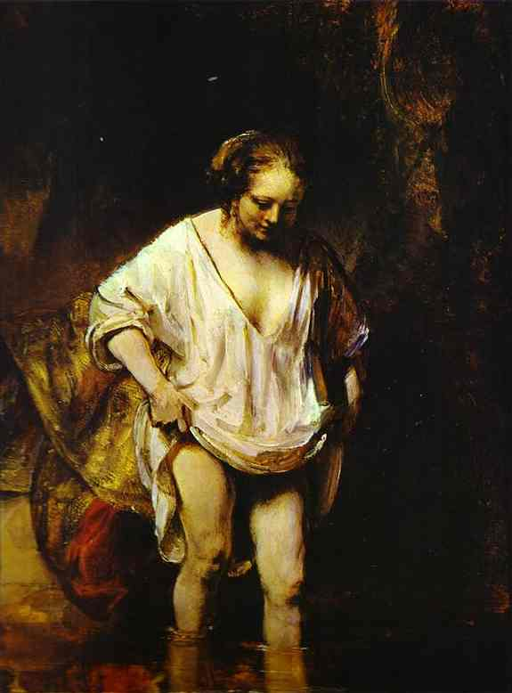 Hendrickje Bathing In A River 1654 | Rembrandt | Oil Painting