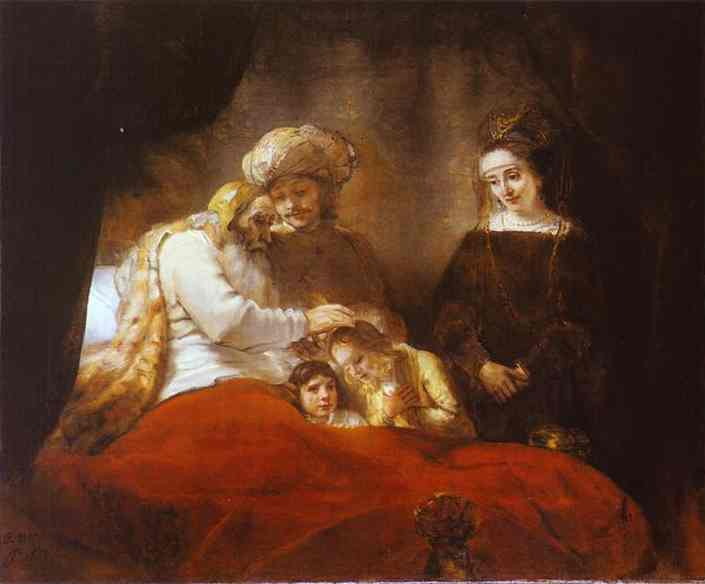 Jacob Blessing The Sons Of Joseph 1656 | Rembrandt | Oil Painting