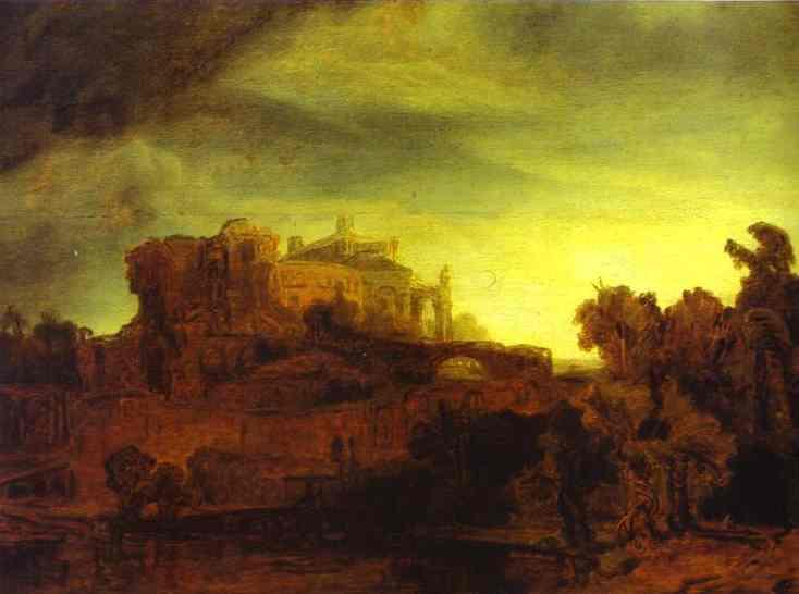 Landscape With A Castle 1632 | Rembrandt | Oil Painting