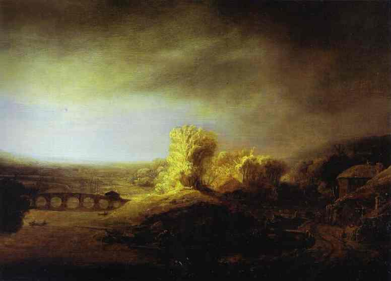 Landscape With A Long Arched Bridge Late 1630s | Rembrandt | Oil Painting