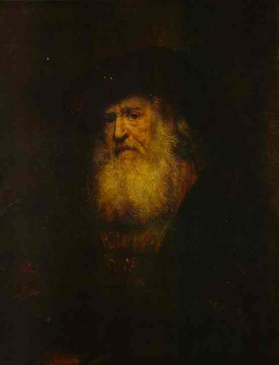 Portrait Of A Bearded Man In Black Beret 1654 | Rembrandt | Oil Painting