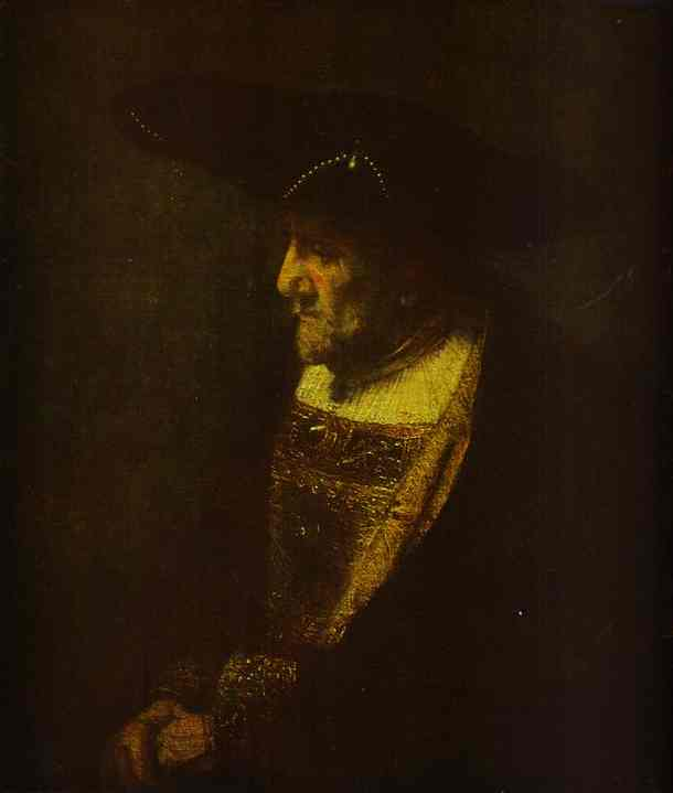 Portrait Of A Man In The Hat Decorated With Pearls 1667 | Rembrandt | Oil Painting