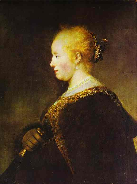 Portrait Of A Young Woman With The Fan 1632 | Rembrandt | Oil Painting