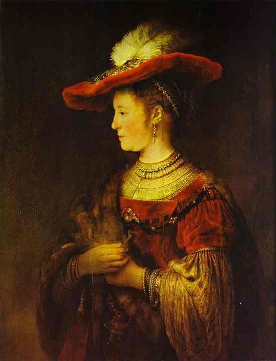 Portrait Of Saskia 1634   Rembrandt   Oil Painting