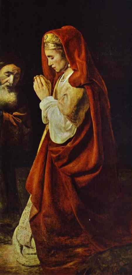 Sacrifice Of Manoah Detail 1641 | Rembrandt | Oil Painting
