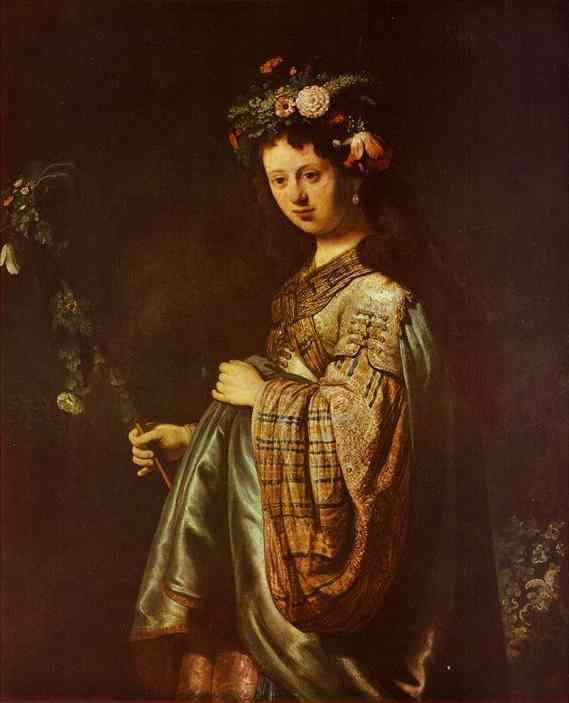 Saskia As Flora 1634   Rembrandt   Oil Painting