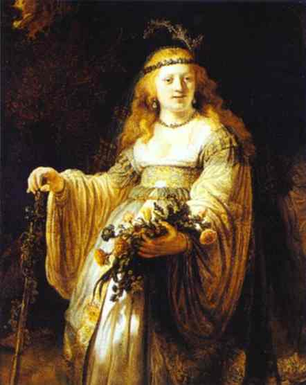 Saskia As Flora 1635 | Rembrandt | Oil Painting