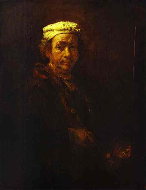 Self Portrait At The Easel 1660 | Rembrandt | Oil Painting
