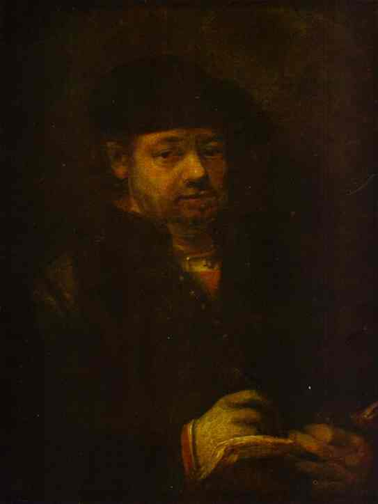Self Portrait With A Sketch Book 1657 | Rembrandt | Oil Painting