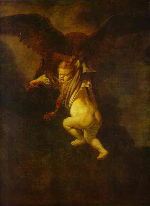 The Abduction Of Ganymede 1635   Rembrandt   Oil Painting