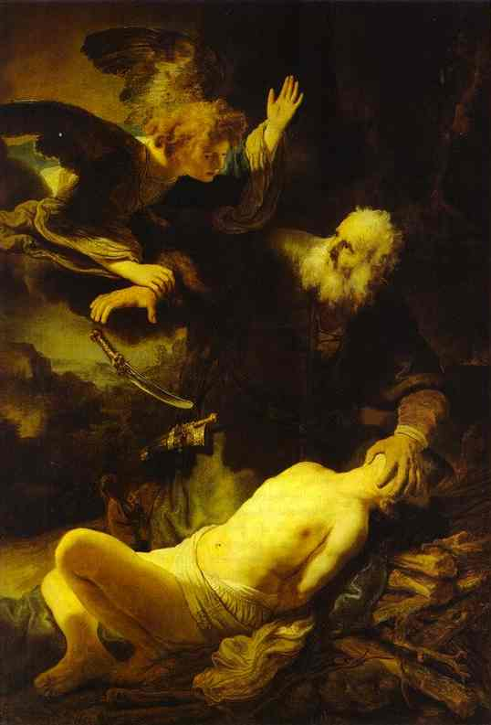 The Angel Stopping Abraham From Sacrificing Isaac To God 1635 | Rembrandt | Oil Painting