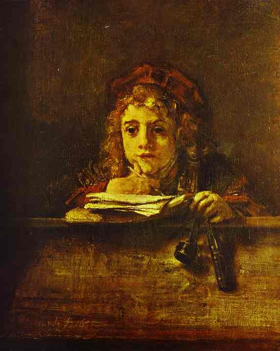 The Artists Son Titus At His Desk 1655 | Rembrandt | Oil Painting