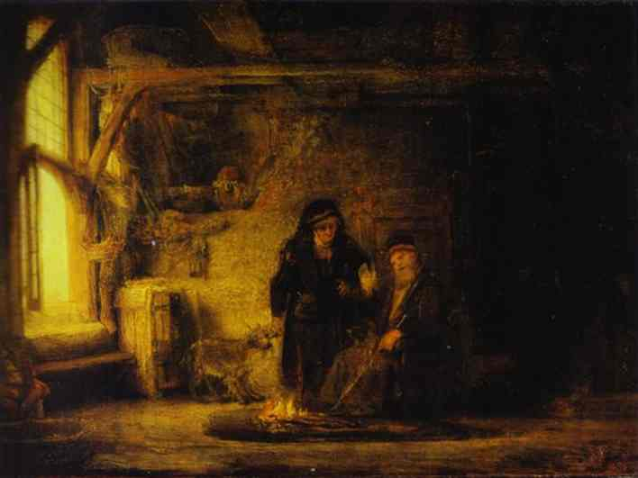 Tobits Wife With A Goat 1645 | Rembrandt | Oil Painting