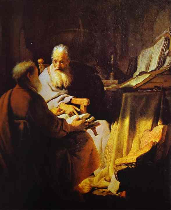Two Scholars Disputing (Peter And Paul) 1628 | Rembrandt | Oil Painting