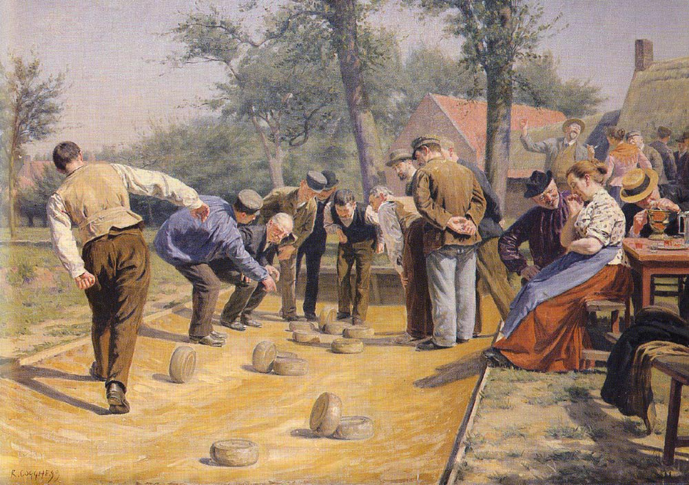 A Game Of Bowls In The Village Square | Remy Cogghe | Oil Painting