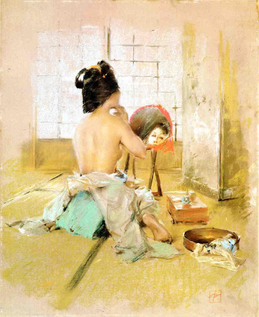 Geisha at Her Toilet | Robert Frederick Blum | Oil Painting