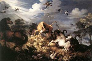 Horses And Oxen Attacked By Wolves | Roelandt Savery | Oil Painting