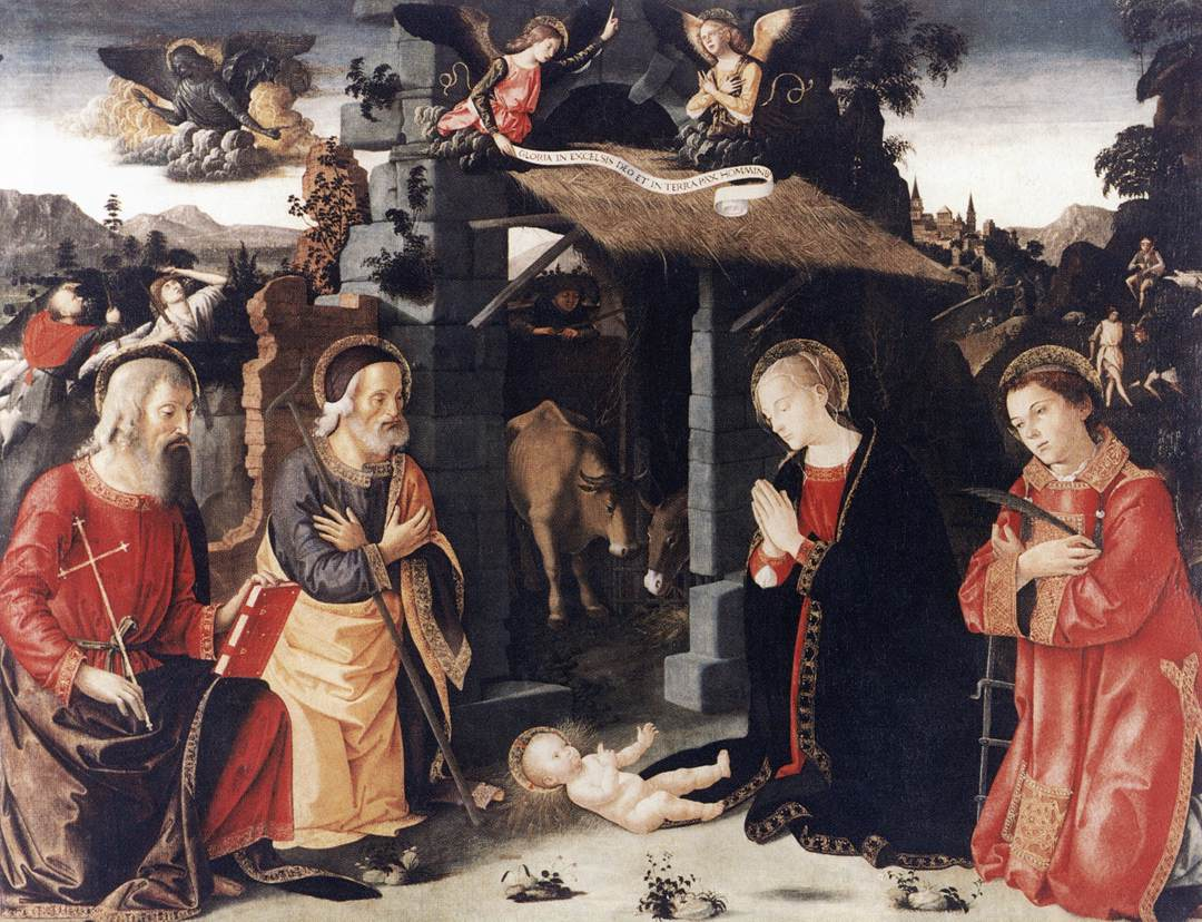 Nativity With Sts Lawrence And Andrew 1480-85 | Romano Antoniazzo | Oil Painting