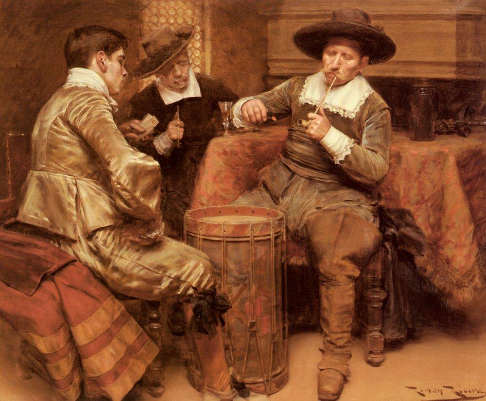 Partida De Cartas | Roman Ribera | Oil Painting