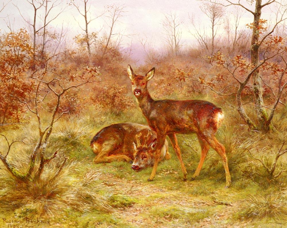 Un Couple De Chevreuils Dans Le Foret De Fontaine | Rosa Maria Bonheur | Oil Painting