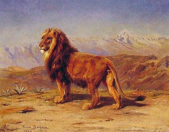 Lion in a Landscape | Rosa Maria Bonheur | Oil Painting
