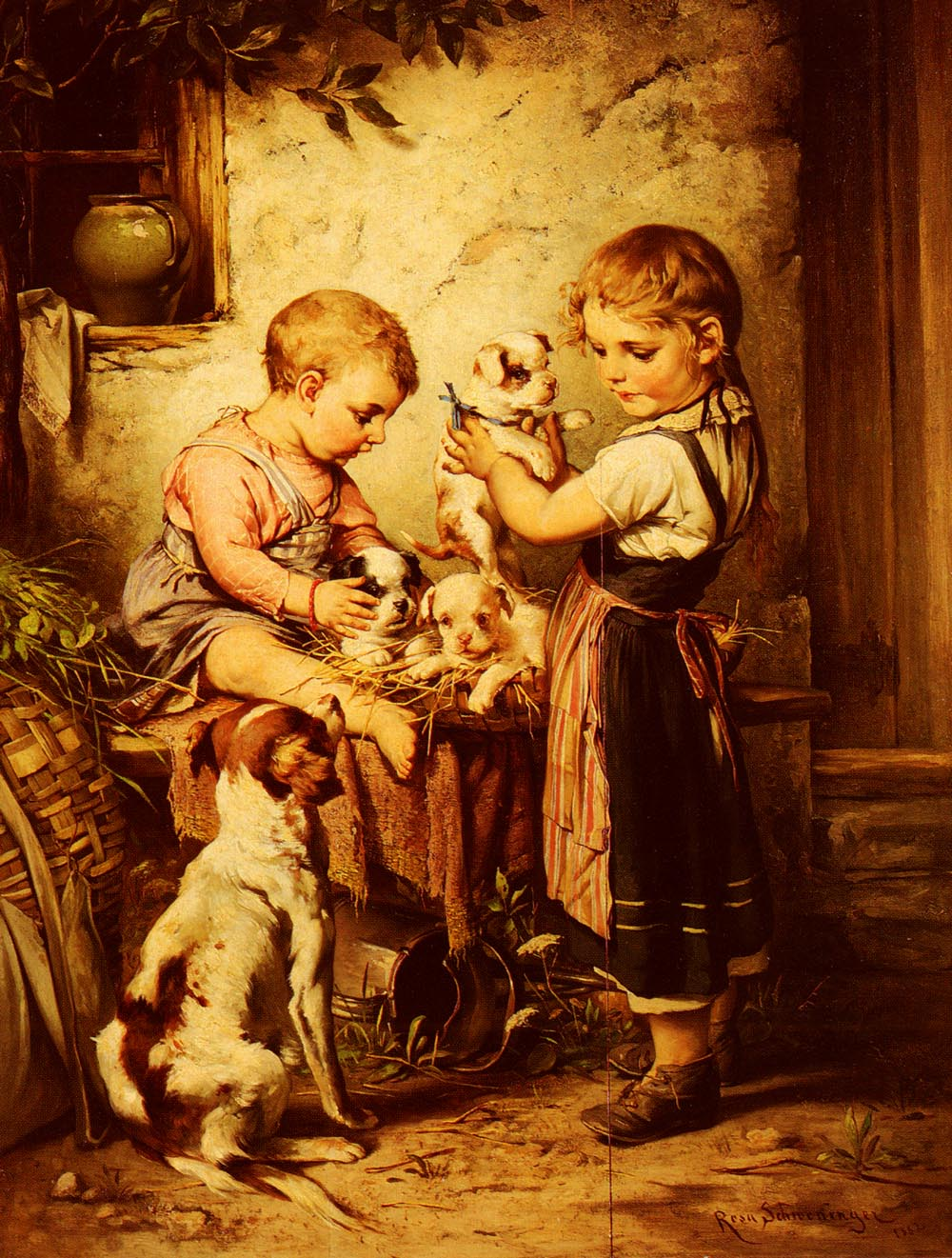 Puppy Love | Rosa Schweninger | Oil Painting