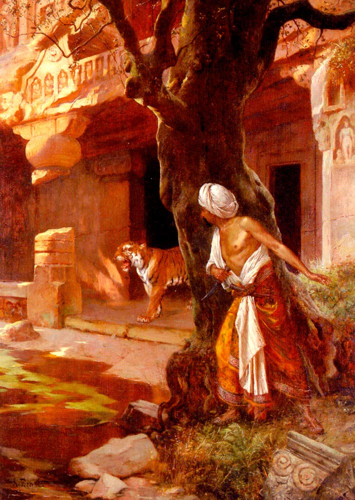 Awaiting The Tiger | Rudolf Ernst | Oil Painting