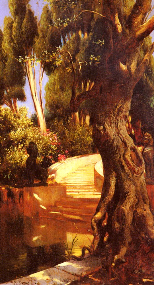 The Staircase Under The Trees | Rudolf Ernst | Oil Painting