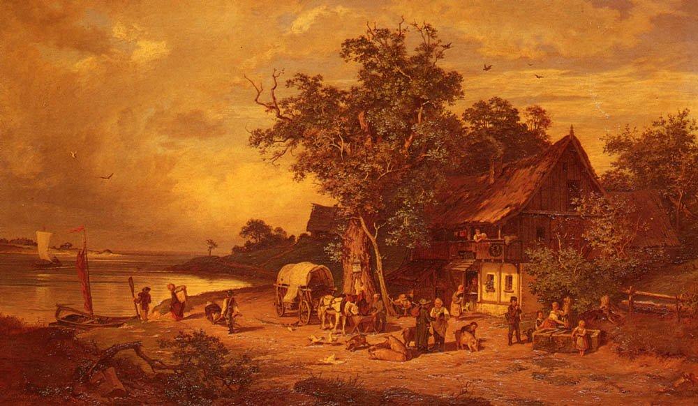 The Inn At The Estuary   Rudolphe Heinrich Schuster   Oil Painting