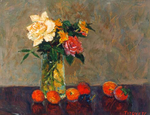 Roses and Peacher | Aleksander Titovets 1960 | Oil Painting