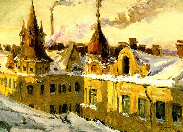 The Roofs in December | Aleksandr Guliayev | Oil Painting
